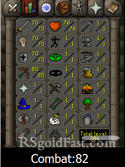 70 Attack/70 Strength/70 Defence/80 Ranged