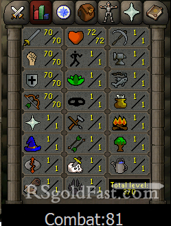 70 Attack/70 Strength/70 Defence/70 Ranged